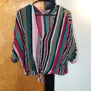 Express, multicolored tie-front top!